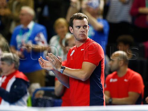 06.03.2016. Barclaycard Arena, Birmingham, England. Davis Cup Tennis World Group First Round. Great Britain versus Japan. GB team captain Leon Smith.