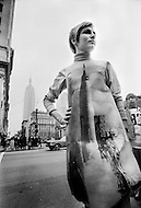 Summer 1968, Manhattan, New York. Known also as Poster Dresses, made by English designer Harry Gordon, the paper dresses were sold in New York at Bloomingdale's for $2.98. The dresses were supposed to only be worn for a day. They were manufactured in London by Poster Dresses Ltd.