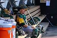 Beloit Snappers catcher Skyler Weber (1) sits in the dugout prior to a Midwest League game against the Wisconsin Timber Rattlers on May 17, 2018 at Fox Cities Stadium in Appleton, Wisconsin. Beloit defeated Wisconsin 8-7. (Brad Krause/Four Seam Images)