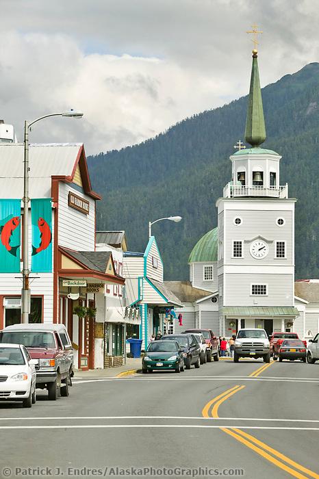 Downtown Sitka, Fishing community on Baranof Island in Southeast, Alaska