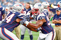Thursday August 11, 2016: New England Patriots offensive lineman Keavon Milton (74) and outside linebacker Geneo Grissom (92) prepare for an NFL pre-season game between the New Orleans Saints and the New England Patriots held at Gillette Stadium in Foxborough Massachusetts. The Patriots defeat the Saints 34-22 in regulation time. Eric Canha/CSM