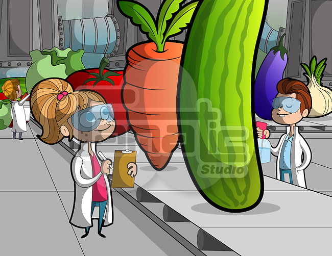 Illustration of children researching on vegetables on conveyor belt at school laboratory