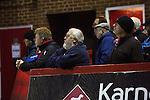 Home fans keeping an eye on the action at Aggborough, home of Kidderminster Harriers as they played visitors Gainsborough Trinity in a National League North fixture. Harriers were formed in 1886 and have played at their current home since 1890. They won this match  by 3-0 watched by a crowd of 1465.