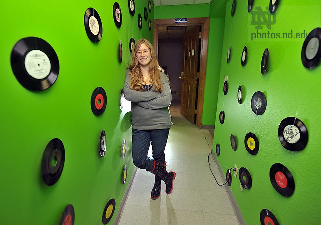 Amanda Gray in the WVFI entryway.  Photographed for Spirit Campaign ad in ND Magazine..Photo by Matt Cashore/University of Notre Dame