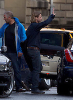 Glasgow, Scotland - Brad Pitt stops filming for the day on World War Z..Picture: Maurice McDonald/Universal News And Sport (Scotland). 24 August 2011. www.unpixs.com..