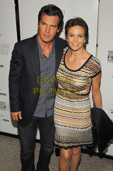 "JOSH BROLIN & DIANE LANE.""Into The Wild"" World Premiere during the 2007 Toronto International Film Festival held at Elgin Theatre,  Toronto, Ontario, Canada, 09 September 2007..half length yellow black striped Missoni style patterned dress.CAP/ADM/BP.©Brent Perniac/AdMedia/Capital Pictures."