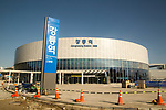 Gangneung Station, Oct 30, 2017 : Gangneung Station for KTX (Korea Train eXpress) or high-speed rail system, is seen under construction in Gangneung, east of Seoul, South Korea. The Gangneung KTX line will connect the Incheon International Airport to Gangneung. The 2018 PyeongChang Winter Olympics will be held for 17 days from February 9 - 25, 2018. The opening and closing ceremonies and most snow sports will take place in PyeongChang county. Jeongseon county will host Alpine speed events and ice sports will be held in the coast city of Gangneung. (Photo by Lee Jae-Won/AFLO) (SOUTH KOREA)