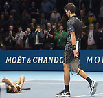 London UK 18h November 2018 Nitto ATP World Tour Finals at 02 Arena London UK Final: Novak Djokovic SRB Vs Alexander Zverev GER Djokovic Zverev wins the match 6-4 6-3
