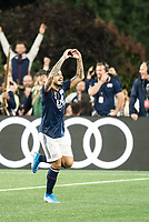 FOXBOROUGH, MA - SEPTEMBER 29: Gustavo Bao #7 of New England Revolution celebrates his goal during a game between New York City FC and New England Revolution at Gillettes Stadium on September 29, 2019 in Foxborough, Massachusetts.