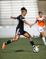 Lianne Sanderson (10) of the D.C. United Women takes a shot during the game at the Maryland SoccerPlex in Boyds, Maryland.  The D.C. United Women defeated the Charlotte Lady Eagles, 3-0, to win the W-League Eastern Conference Championship.