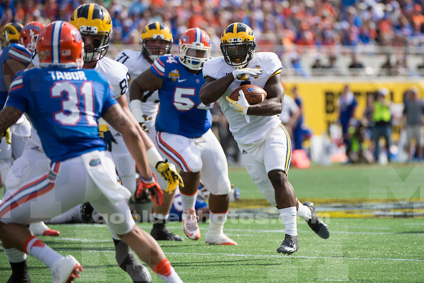 The University of Michigan football team beat the University of Florida, 41-7, at the Citrus Bowl in Orlando, Fla., on Jan. 1, 2016.