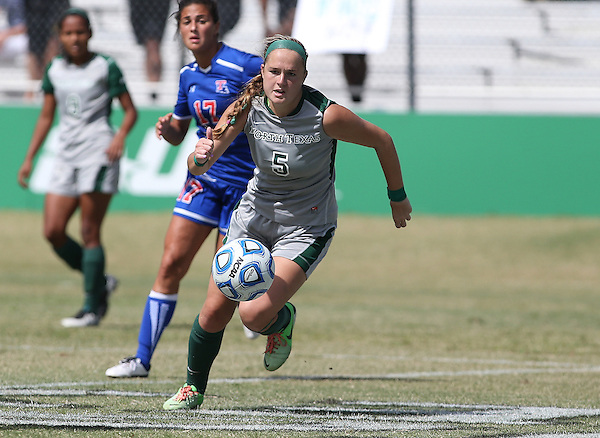 DENTON, TX - SEPTEMBER 29: Jackie Moreau #5 of the North Texas Mean Green - North Texas Mean Green Soccer vs Louisiana Tech at the Mean Green Village Soccer Field in Denton on September 29, 2013 in Denton, Texas. Photo by Rick Yeatts