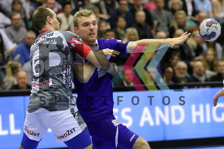 Kolding, 22.02.15, Sport, Handball, EHF Champions League, Grunppenspiel, KIF Kolding Kobenhavn - Alingsas HK : Lars Jorgensen (KIF Kolding Kobenhavn, #6), Johan Nilsson (Alingsas HK, #21)<br /> <br /> Foto &copy; P-I-X.org *** Foto ist honorarpflichtig! *** Auf Anfrage in hoeherer Qualitaet/Aufloesung. Belegexemplar erbeten. Veroeffentlichung ausschliesslich fuer journalistisch-publizistische Zwecke. For editorial use only.
