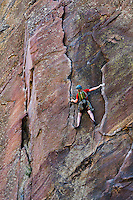 Man rock climbing, Eldorado Canyon State Park, Colorado, USA