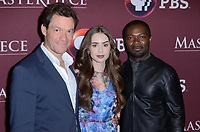 LOS ANGELES - JUN 8:  Dominic West, Lily Collins, David Oyelowo at the Les Miserables Photo Call at the Linwood Dunn Theater on June 8, 2019 in Los Angeles, CA