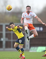 Blackpool's Clark Robertson battles with Oxford United's Jack Payne<br /> <br /> Photographer Mick Walker/CameraSport<br /> <br /> The EFL Sky Bet League One - Rochdale v Blackpool - Monday 1st January 2018 - Spotland Stadium - Rochdale<br /> <br /> World Copyright &copy; 2018 CameraSport. All rights reserved. 43 Linden Ave. Countesthorpe. Leicester. England. LE8 5PG - Tel: +44 (0) 116 277 4147 - admin@camerasport.com - www.camerasport.com