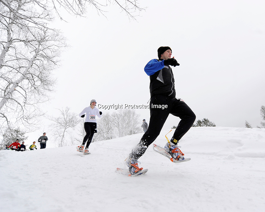 Competitors in the Hot Air for Heart snowshoe race held after the USSSA National Snowshoe Championships March 12, 2011 at Cable, WI.