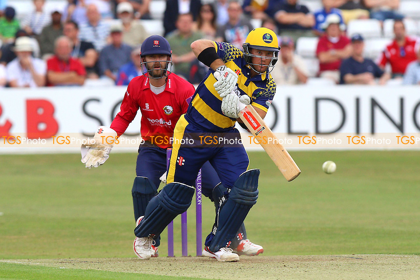 Colin Imgram in batting action for Glamorgan as James Foster looks on from behind the stumps during Essex Eagles vs Glamorgan, Royal London One-Day Cup Cricket at the Essex County Ground on 26th July 2016