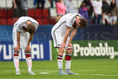 27.06.2015. Andruv Stadium, Olomouc, Czech Republic. U21 European championships, semi-final. Portugal versus Germany.  Matthias Ginter (Germany), Dominique Heintz (Germany)  frustrated after the game which they lost 5-0