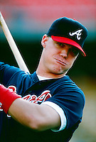 Chipper Jones of the Atlanta Braves during a game at Dodger Stadium in Los Angeles, California during the 1997 season.(Larry Goren/Four Seam Images)