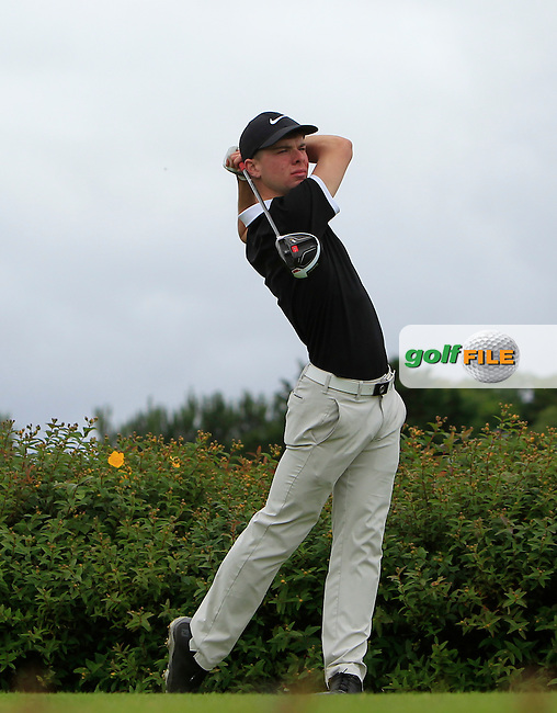 Cian Mooney (Faithlegg) on the 18th tee during R1 of the 2016 Connacht U18 Boys Open, played at Galway Golf Club, Galway, Galway, Ireland. 05/07/2016. <br /> Picture: Thos Caffrey | Golffile<br /> <br /> All photos usage must carry mandatory copyright credit   (&copy; Golffile | Thos Caffrey)