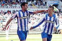 Real Sociedad's Imanol Agirretxe (l) and Antoine Griezman celebrate goal during La Liga match.April 14,2013. (ALTERPHOTOS/Acero)