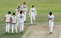 Matt Henry is congratulated after bowling Craig Meschede during the Specsavers County Championship division two game between Kent and Glamorgan (day 3) at the St Lawrence Ground, Canterbury, on Sept 20, 2018