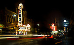 The marquee of historic Michigan Theater (603 East Liberty St.; 734-668­‐8397; www.michtheater.org) shares the night-time sky with its younger brother State Theater, Saturday, Sept. 3, 2011 in Ann Arbor, Mich. (Tony Ding for The New York Times)