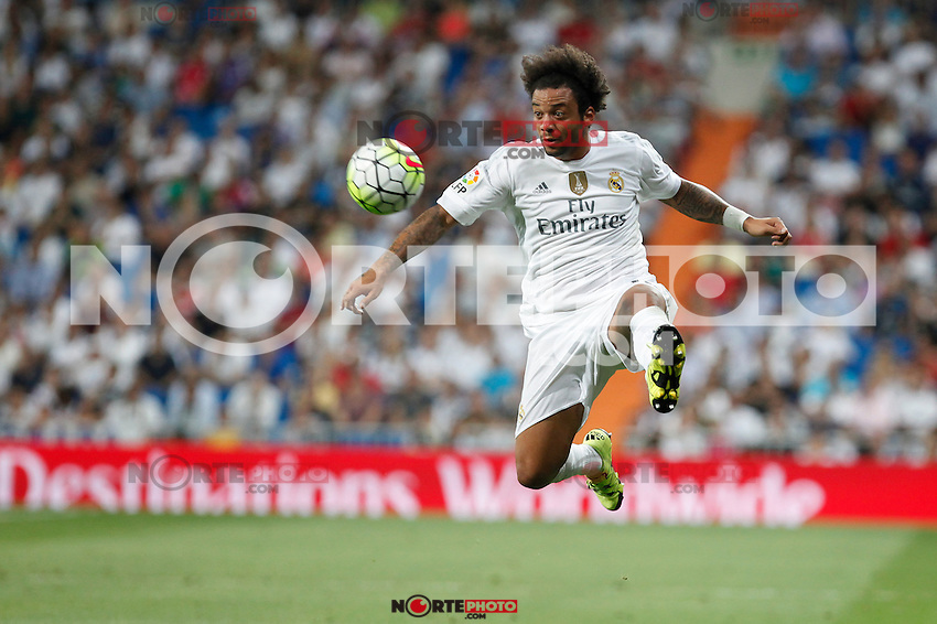 Real Madrid´s Marcelo Vieira during La Liga match at Santiago Bernabeu stadium in Madrid, Spain. August 29, 2015. (ALTERPHOTOS/Victor Blanco)