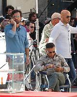 NAPOLI PIAZZA SAN DOMENICO MAGGIORE REGISTRAZIONE DI UNA PUNTATA DELLA TERZA SERIE DI MASTERCHEF ITALIA <br /> NELLA FOTO  I GIUDICI BRUNO BARBIERI , CARLO CRACCO E JOE BASTIANICH<br /> FOTO CIRO DE LUCA