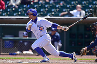 John Andreoli (2) of the Iowa Cubs swings at pitch against the New Orleans Zephyrs at Principal Park on April 23, 2015 in Des Moines, Iowa.  The Zephyrs won 9-2.  (Dennis Hubbard/Four Seam Images)