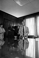 Undated file photo File photo. <br /> Parti Quebecois Leader Rene Levesque visit Le Devoir newspaper headquarter in Montreal, Canada and its editor Claude Ryan (L) who later opposed Levesque as Leader of Quebec's Liberal Party.<br /> <br /> <br /> Photo : AQP - Alain Renaud