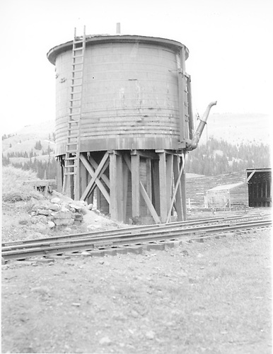 Full view of D&amp;RGW Cumbres water tank from the southwest.<br /> D&amp;RGW  Cumbres, CO  Taken by Rogers, Donald E. A. - 5/25/1939