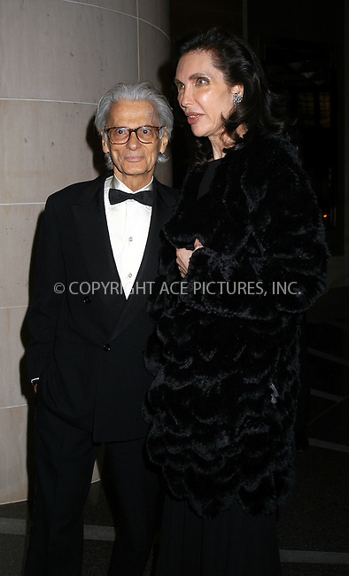 Pictured: Richard Avedon and Veronica Hearst. Americans for the Arts host their 8th Annual National Arts Awards Gala at the Mandarin Oriental Hotel. November 11, 2003. Please byline: AJ SOKLANER/NY Photo Press.   ..*PAY-PER-USE*      ....NY Photo Press:  ..phone (646) 267-6913;   ..e-mail: info@nyphotopress.com