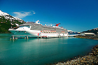 The Carnival Spirit cruiseship at the new (2004) cruiseship terminal in Whittier, Alaska