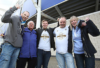 Swansea fans before the Barclays Premier League match between Leicester City and Swansea City played at The King Power Stadium, Leicester on April 24th 2016