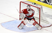 St. Cloud State goalie Ryan Faragher. Nebraska-Omaha defeated St. Cloud State 4-3 Saturday night at CenturyLink Center in Omaha. (Photo by Michelle Bishop) .