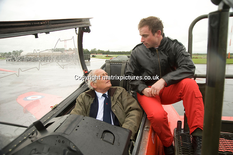 NON EXCLUSIVE PICTURE: MATRIXPICTURES.CO.UK<br /> PLEASE CREDIT ALL USES<br /> <br /> WORLD RIGHTS<br /> <br /> Former Red Arrow Squadron Henry Prince is pictured with current Red 7 Flight Luitenant Mark Lawson at the press day for the Royal International Air Tattoo held at RAF Fairford.<br /> <br /> JUNE 4th 2014<br /> <br /> REF: RWN 142662