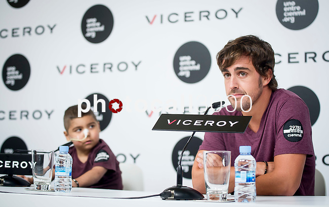 The Formula One driver Fernando Alonso has the bracelet solidarity against leukemia. Madrid. Spain. 2014/09/02. Samuel de Roman / Photocall3000