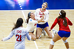 PENSACOLA, FL - DECEMBER 09: Bethany Besancenez (10) and Sydney Marshall (5) of Florida Southern College collide after reaching for a dig during the Division II Women's Volleyball Championship held at UWF Field House on December 9, 2017 in Pensacola, Florida. (Photo by Timothy Nwachukwu/NCAA Photos via Getty Images)