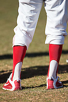 A member of the Belmont Abbey Crusaders baseball team wears old school stirrups in the game against the Shippensburg Raiders at Abbey Yard on February 8, 2015 in Belmont, North Carolina.  The Raiders defeated the Crusaders 14-0.  (Brian Westerholt/Four Seam Images)