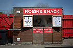 A snack bar waiting for business inside the ground before Ilkeston Town host Walsall Wood in a Midland Football League premier division match at the New Manor Ground, Ilkeston. The home team were formed in 2017 taking the place of Ilkeston FC which had been wound up earlier that year. Watched by a crowd of 1587, their highest of the season, the match was top versus second, however, the visitors won 4-0 and replaced their hosts at the top of the division on goal difference with two matches to play