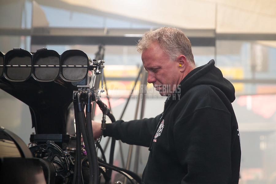 Apr 14, 2019; Baytown, TX, USA; Crew chief Brian Husen for NHRA top fuel driver Mike Salinas during the Springnationals at Houston Raceway Park. Mandatory Credit: Mark J. Rebilas-USA TODAY Sports