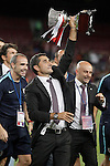 Athletic de Bilbao's coach Ernesto Valverde celebrates the victory in the Supercup of Spain. August 17,2015. (ALTERPHOTOS/Acero)