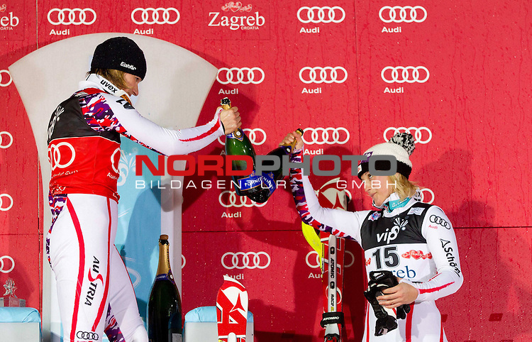 03.01.2012, Crveni Spust, Sljeme, CRO, FIS Weltcup Ski Alpin, Zagreb, Damen Slalom Podium, im Bild Winner SCHILD Marlies (AUT) and third placed KIRCHGASSER Michaela (AUT) celebrate at flower ceremony // after the 2nd Run // during Slalom race of FIS Ski Alpine World Cup at 'Crveni Spust' course in Sljeme, Zagreb, Croatia on 2012/01/03. Foto &copy; nph /    Vid Ponikvar<br /> <br /> ***** ATTENTION - OUT OF SLO ***** *** Local Caption ***
