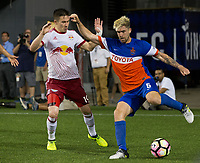 Cincinnati, OH - Tuesday August 15, 2017: Alex Muyl, Aodhan during a 2017 U.S. Open Cup game between FC Cincinnati vs New York Red Bulls at Nippert Stadium.