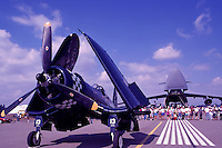 Goodyear / Chance Vought FG-1D Corsair (Pilot Chris Avery) on Static Display - at Abbotsford International Airshow, BC, British Columbia, Canada - US Air Force Lockheed C-5 Galaxy Military Cargo Transport Aircraft in background