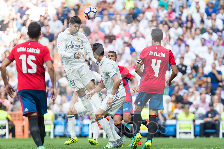 Real Madrid's Alvaro Morata during the match of La Liga between Real Madrid and Club Atletico Osasuna at Santiago Bernabeu Estadium in Madrid. September 10, 2016. (ALTERPHOTOS/Rodrigo Jimenez)