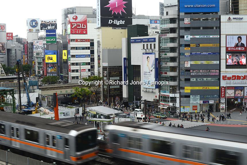 Toyoko train passes through Shibuya city, Tokyo.<br /> April-2010