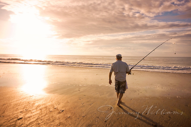 Surf fishing at the South Core Banks at sunset